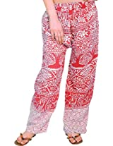 Exotic India Casual Trousers from Pilkhuwa with Printed Palm Trees - Color Hot CoralGarment Size Free Size