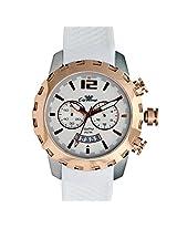 Men Luxury Wristwatch Citizen Movement White Silicion Strap Rose Gold Bezel