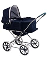 Badger Basket English Style 3-in-1 Doll Pram Carrier And Stroller - Navy/White