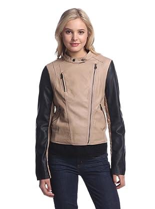 LatteBLACK  Women's Faux Leather Colorblock Jacket (Beige/Black)