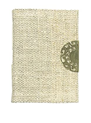 Marina Vaptzarov Hemp Cover Journal with Hand-Carved Brass Clasp, Natural