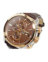 Seiko Men's Brown Dial Rose Gold Alarm Chronograph Leather Sports Watch SNAF52P1