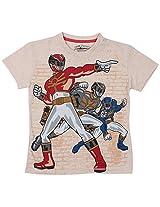 Bio world Boys' Round Neck Power rangers Tween Cotton Half Sleeve T-Shirt Oatmeal Melaange [8903346241675] -(11-12 years )