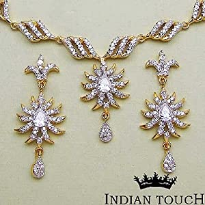 Indian Touch American Diamond Brass Necklace Set