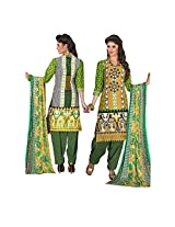 Rajnandini Women's Green pure cotton Printed Unstitched salwar suit Dress Material with Naznin Duppta (Free Size)