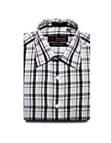 Swank Mens Formal Shirt White & Black Checks
