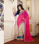 Georgette Resham & Patch Work Pink Saree