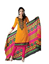 RUDRA FASHION Women YELLOW & PINK COTTON SALWAR SUIT DRESS MATERIAL WITH COTTON DUPATTA.DS 2112