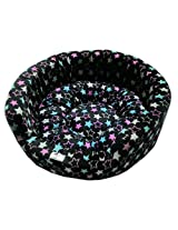 Dog Bed Basket Black With Stars Small