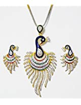 DollsofIndia Gold Plated Chain with White Stone Studded Peacock Pendant and Earrings - Metal And Stone - White