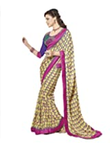 Adah Fashions Georgette Saree With Blouse Piece (398-1325-B -Yellow)