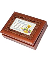 First Communion Boy Rich Woodgrain Finish Ornate Inlay Jewelry Music Box - Plays How Great Thou Art