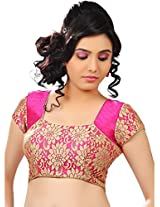 Isha Enterprise Women's Net Blouse Material(KFB-015_Pink)