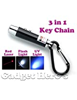 Gadget Hero's 3 in 1 Portable Emergency Key Chain Has Laser Pointer, Led Torch (Flash Light) & UV Light.