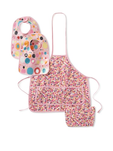 Infantissima Carrying Case, Apron and Bib Set, Pink