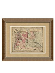 """Johnson and Ward Antique Map of Washington, Oregon & Idaho, 1860's, 24"""" x 26"""""""