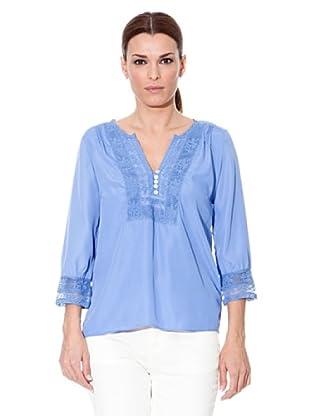 Cortefiel Blusa Encajes (Azul)