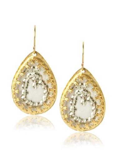 Presh Gold & Egret Teardrop Earrings