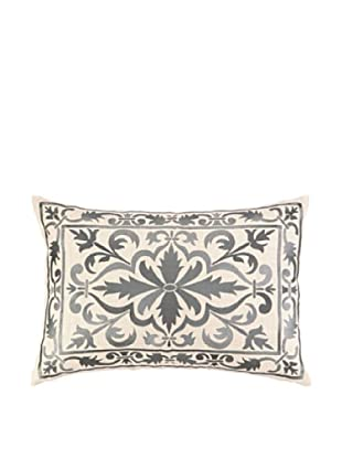 Peking Handicraft Buckingham Pillow, Grey