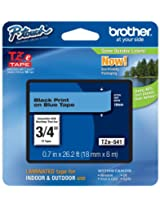 Brother Tape, Black on Blue, 18mm (TZe541)