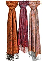 Exotic India Lot of Three Super-Silk Jamawar Scarves - Multi Color