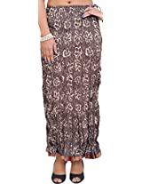 Exotic India Deep Taupe Crushed Elastic Skirt with Patch Border - Brown