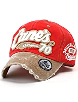 ililily Distressed Vintage Cotton embroidered Baseball Cap Snapback Trucker Hat Red AD