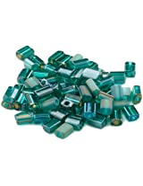 Beaders Paradise LTBMIX8 Czech Glass Teal Mix 3-1/2 by 5mm Flat Rectangles in a Tube