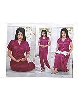 Indiatrendzs Sexy Sleepwear Hot Nighty for Womens Bridal 4pc Set -Freesize