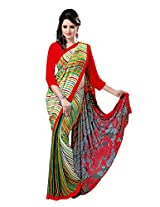 Anss Faux Georgette Saree (Anss0018 _Multi-Coloured)