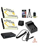 Two Halcyon 1200 mAH Lithium Ion Replacement NP-BN1 Battery and Charger Kit + Memory Card Wallet + Multi Card USB Reader + Deluxe Starter Kit for Sony DSC-QX100 Digital Camera Module for Smartphones and Sony NP-BN1