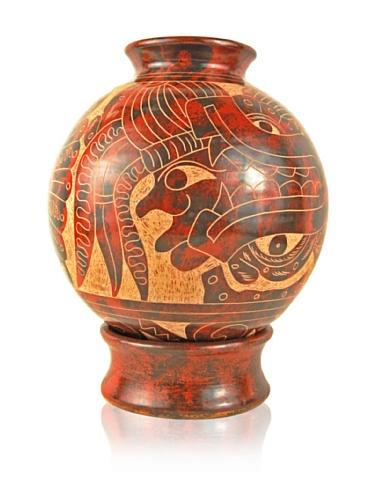 Chaka Globe Vase, Red/Tan, 10