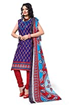 Krisha Print Women's Unstitched Dress Material (Blue_Free Size)