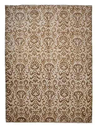 Darya Rugs Ikat Oriental Rug, Pale Brown/Cream, 9' 1