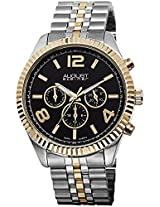 August Steiner Men's AS8096TTG Swiss Quartz Multifunction Black Dial Silver-tone & Gold-tone Stainless Steel Bracelet Watch