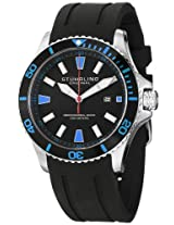Stuhrling Original Men's 706.02 Aquadiver Regatta Diver Sport II Quartz Date Blue Accent Rubber Strap Watch