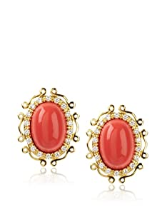 CZ by Kenneth Jay Lane Oval Cabouchon Earrings, Coral