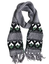 Diesel Banner Knit Scarf Wool Blend Grey, Black, White, Green