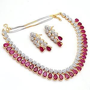Jewar Gemstone Ruby CZ Vintage Pave Jewelry