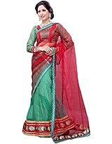 Suchi Women Net Lehenga Saree (Sfjag90264 _Green And Red _Free Size)