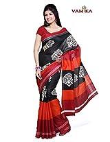 Bhagalpuri Silk Printed Black Bollywood Saree - VMS80013