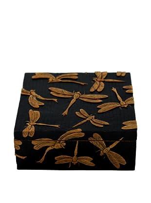 Ciel Hand-carved Soapstone Dragonflies Box, Black
