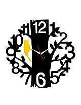 Panache Aluminium Wall Clock Pan058 1 to 12 Tree Black