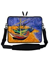 Meffort Inc 15 15.6 inch Neoprene Laptop Sleeve Bag Carrying Case with Hidden Handle and Adjustable Shoulder Strap - Vincent van Gogh Fishing Boats on the Beach