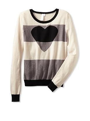 Shae Women's Striped Heart Sweater (Shale/Off-White/Black)