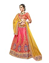 Khoobee Presents Multi Embroidered And Embellished Net Semi-Stitched Lehenga Choli (Gajari)