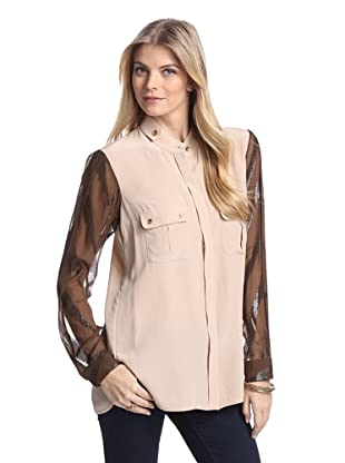 Rachel Roy Women's Utility Shirt with Metallic Detail (Straw/Brown)