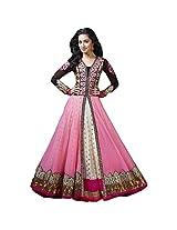 Fabfirki Women Brocade & Georgette Salwar Suit Dress Material (Fa118-028 _Pink, White _Free Size)