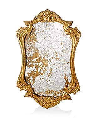 Antiqued Gold Ornately Framed Mirrored Tray