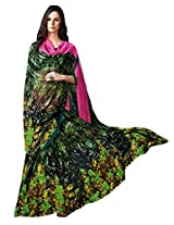 Green Color Georgette Printed Saree with Blouse 7013